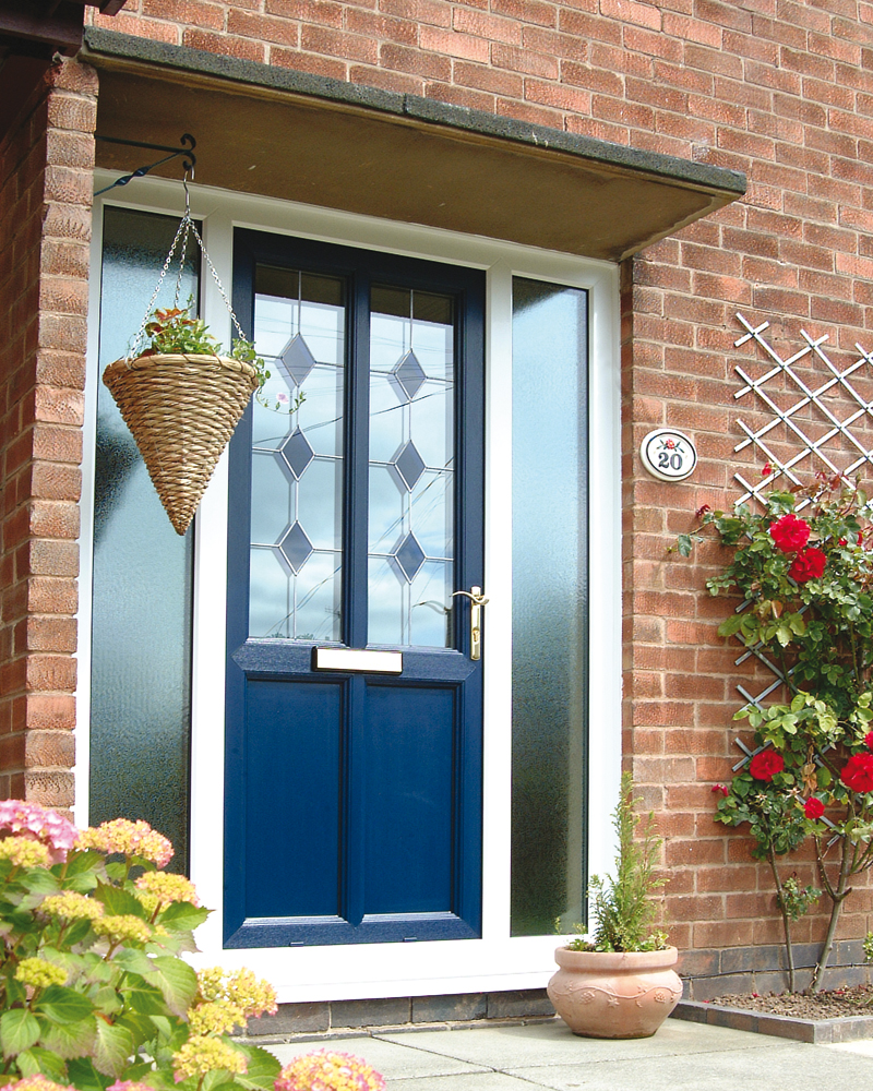 Stylish-blue-door-Feng-Shui-style-and-flowers